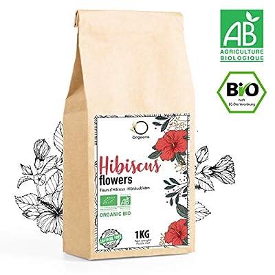 HIBISCUS BIO 1kg Grade Supérieur | Fleur Hibiscus pour Bissap, Thé glacé, Infusion et Tisane | Cure Detox Drainante | Fleurs Séchées Bio