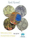 #6: Snowpearl Roti/Chapati Covers, Traditional Roti Rumals - 100% Pure Cotton Cover, Assorted Color & Design (Set of 5, Round)