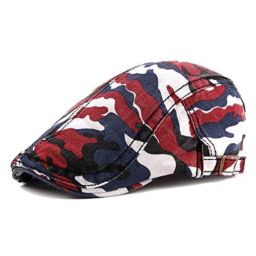Flache Kappe Unisex einstellbare Baumwolle Flache Kappe Camouflage gedruckt Bunte Entenschnabel Ivy Newsboy Gatsby Irish Cap Hut (Color : 3, Size : Free Size) Mode Ivy Cap