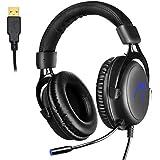 Gaming Headset PC, 7.1 Surround Sound Gaming Kopfhörer, JIEJIEWYD USB Headset mit Mikrofon LED-Licht - Schwarz, Blau