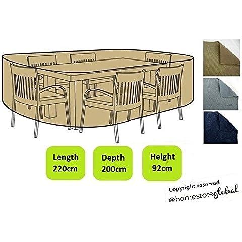 HomeStore Global Funda para gran forma oval muebles de jardín – Gruesa y de alta calidad durable 600D poliéster de la lona con costuras cosidas doble para la fuerza adicional, resistente a la humedad