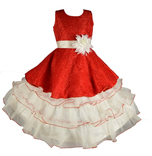My Lil Princess Baby Girls Birthday Party wear Frock Dress_Red Golden Amy_6-7...