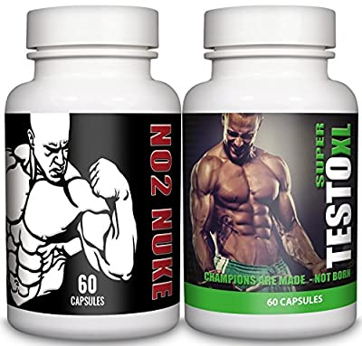 NO2 Nuke & Super Testo XL - Muscle Growth & Strength - Testosterone Booster for Men - Bundle Deal - Natural Answers from Natural Answers