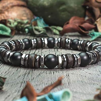 Bracelet Homme Taille 19-20cm perles Ø 8mm Pierre naturelle Agate/Onyx noir Mat Bois Cocotier/Coco Hématite, hexagone en acier inoxydable Fait main Made in France BRASAVIN18
