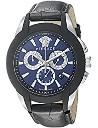 Versace Men's VQN010015 Character Analog Display Quartz Black Watch