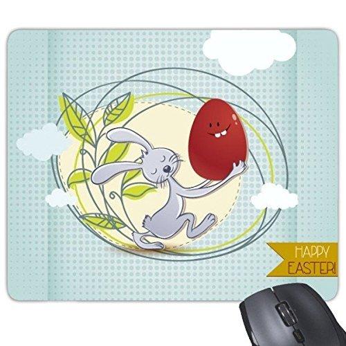 Fuwuxin Home Glückliches Ostern-Religions-Christentum-Festival Lustiges buntes Häschen farbiges Ei verlässt Wolke Kultur Abbildung Muster Rechteck Rutschfeste Gummi Mousepad Spiel-Mausunterlage