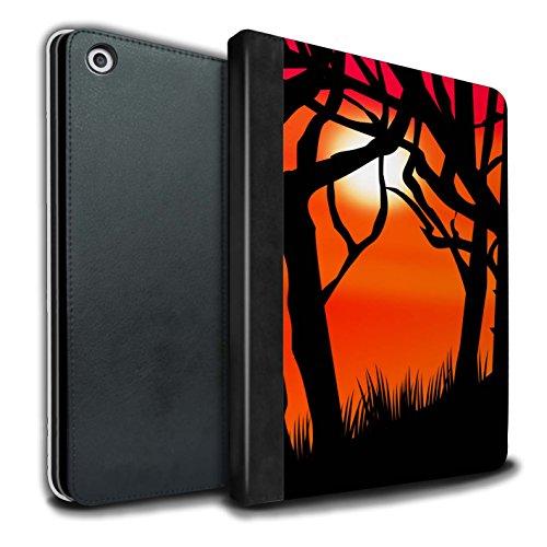 �lle/Case/Brieftasche für Apple iPad 9.7 (2017) Tablet/Gruseligen Wald Muster/Halloween Szene Kollektion ()