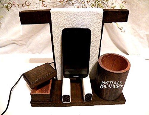 Legno Phone Holder, personalizzata basamento del telefono, regalo Idea Ufficio, in legno telefono cellulare, stazione del caricatore, docking station per Legno, Cellulare Desktop Tray