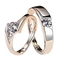 Gespout 1 Pair Lovers Elegant Adjustable Silver Ring Crystal Shiny Cubic Diamond Open Ring Charming Princess Prince Jewelry for Her/Him (B)