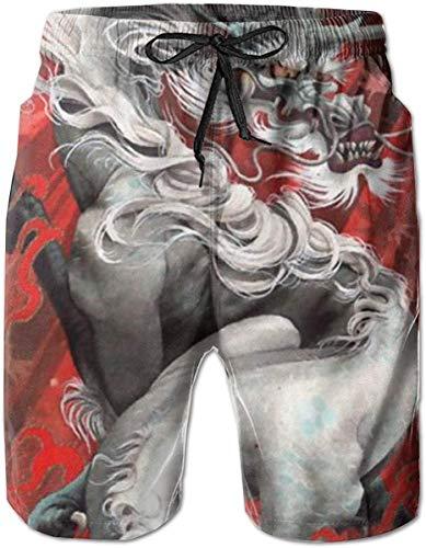 Yukaiwei1 - Bañador para Hombre, diseño de dragón Chino, Color Rojo como Cuadro L