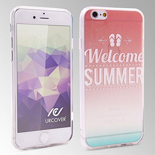 Urcover® Semi Softcase Hülle | Apple iPhone 6 / 6s | TPU Muster Berge | KAMERASCHUTZ | Handyhülle | Cover Back-Case Handyschutz Welcome Summer