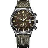 Megir - Reloj de pulsera para hombre (cronógrafo, calendario, correa de nailon), color verde militar