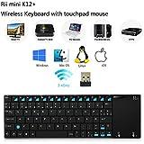 (Novedad 2016) Rii® K12+. Teclado ultra delgado inalámbrico 2.4GHz, con cubierta de acero inoxidable. Perfecto para centros multimedia, reproductores KODI, PC, Ordenador Portátil, Smart TV, Raspberry Pi 2/3. Compatible con Sistemas Operativos Windows, Linux, Android (Incluido Android Box), XBMC, MacOS y HTPC.(K12 Plus )