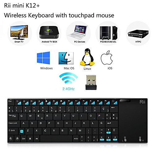 (Novedad 2016) Rii® K12+. Teclado ultra delgado inalámbrico 2.4GHz, con cubierta de acero inoxidable. Perfecto para centros multimedia, reproductores KODI, PC, Ordenador Portátil, Smart TV, Raspberry Pi 2/3. Compatible con Sistemas Operativos Windows, Linux, Android (Incluido Android Box), XBMC, MacOS y HTPC.(K12 Plus