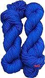 #9: Vardhman Brilon Blue Wool Ball Hand Knitting Wool / Art Craft Soft Fingering Crochet Hook Yarn, Needle Acrylic Knitting Yarn Thread Dyed