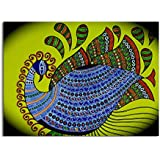 Tamatina Madhubani Canvas Paintings - A Beautiful Peacock - Traditional Art Paintings - Paintings For Home Décor - Paintings For Bedroom - Paintings For Living Room - Indian Canvas Paintings - Madhubani Paintings For Wall