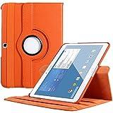 EnGive 360°Drehbares Ledertasche Samsung Galaxy Tab 4 10.1 Hülle (10,1 Zoll) Schutzhülle Case Tasche mit Ständerfunktion Auto Sleep/Wake-Funktion (Samsung Galaxy Tab 4 10.1, Orange)