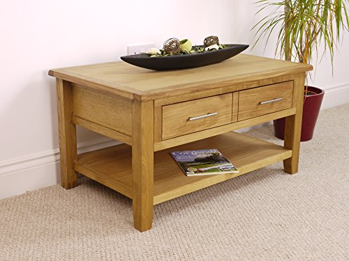 Cheapest Price for Nebraska Modern Oak 2 Drawer Coffee Table / Storage with Shelf / Living Room Furniture Review