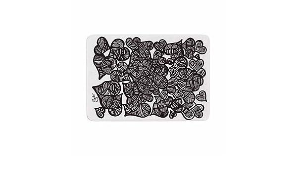 17 x 24 Kess InHouse Adriana De Leon Hidden Hearts Black White Memory Foam Bath Mat