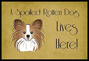 Caroline's Treasures BB1496MAT Papillon Spoiled Dog Lives Here Indoor or Outdoor Mat, 18 x 27, Multicolor