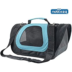 Nobleza 029976 - Bolso transportín de tela oxford para perros, gatos o animales pequeños. Mediano, Color Azul Largo 40 cm