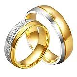 AnaZoz Männer Ring Titan 18K Vergoldet Hochzeitsringe Trauring Ehering Modeschmuck für Paar Größe 70 (22.3)