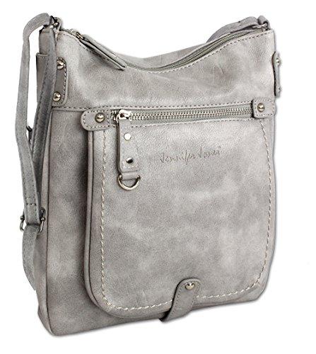 b3ded0ec50415 Jennifer Jones Taschen Damen Damentasche Handtasche Schultertasche  Umhängetasche Tasche klein Crossbody Bag 3110 (Hellgrau)