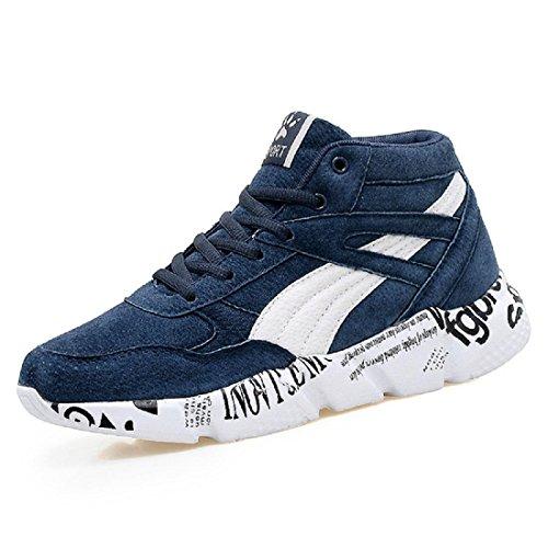 Chaussures De Sport Pour Hommes Chaussures De Mode Augmentations Chaussures Plates Antidérapantes Chaussures De Course Ballerines Larges Taille Euro Taille 36-47 Bleu