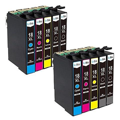 LxTek Compatible Cartouches d'encre Remplacement pour Epson 18XL 18 T1811 T1812 T1813 T1814 10 pack ( 4 Noir, 2 Cyan, 2 Magenta, 2 Jaune ) pour Epson Expression Home XP-102 XP-202 XP-205 XP-212 XP-215 XP-225 XP-30 XP-33 XP-302 XP-305 XP-312 XP-315 XP-322 XP-325 XP-402 XP-405 XP-405WH XP-412 XP-415 XP-422 XP-425 Imprimante