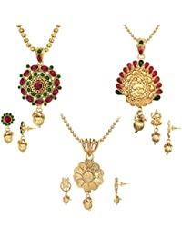 Spargz Festive Wear Spiritual Laxmi Traditional Designer Jewellery Set Combo 537