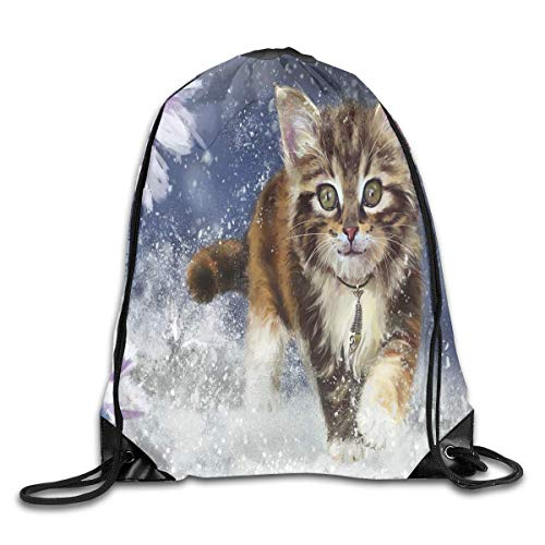 Naiyin Drawstring Bag Kitty Cat Snowy Womens Gym Backpack Vintage Mens Travel Canvas Bags for Boys pic36 -