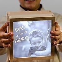Caja de luz con foto + mensaje personalizado - lightbox - caja de luz decorativa - Leds - de 18x81x9,50cm. hecha de madera - foto y texto iluminados