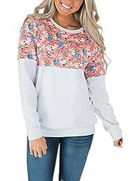 15f693715f55 ECOWISH Damen Pullover Lose Langarm Sweatshirt Patchwork Blumen Top Kurz  Sweater