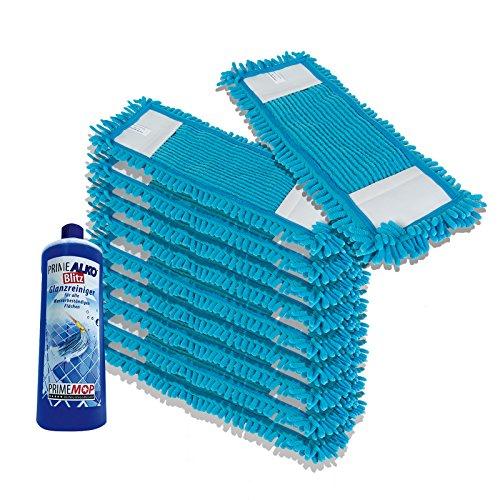 PrimeMop 10x Wischmopp Microfaser Blau für Parkett Laminat 50cm Haushalt (1L GLANZREINIGER GRATIS)