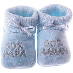 Chaussons bébé brodés 50%papa 50%maman Happy baby bleu/argent 0/3mois
