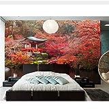 Meaosy Giappone Autunno Parchi Ponti Stagno Alberi Natura Sfondi, Ristorante Soggiorno Tv Sfondo Divano Parete Camera Bar 3D Murale-150X120Cm