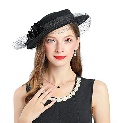 Braun Cocktail Hut - YYWDJSMZ Frauen Hochzeit breiter Krempe Fascinators
