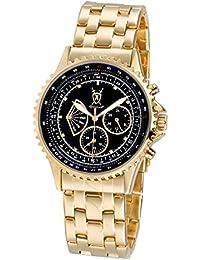 Reloj de Hombre, con Esfera Negra Grande con Acentos de Diamante Multi-función Día-Fecha y Pulsera Dorada de Konigswerk AQ101104G