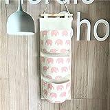 Fieans Hanging Storage Bag Back Wall Hung Door Pocket Wand Utensilo Wohnzimmer Schlafzimmer Hängenden Tasche-Rosa Elefant
