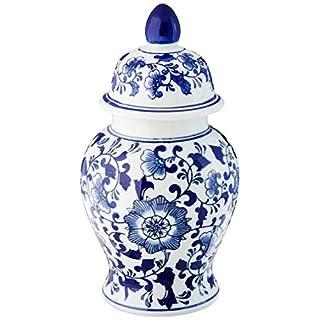 Abbott Collection Lg Blu/Wht Covered Ginger Jar-12 H, Porcelain, White and Blue,