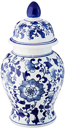 Abbott Collection LG Blu/wht Verdeckt Ginger jar-12 H, Porzellan, Weiß und Blau, Floral Ginger Jar