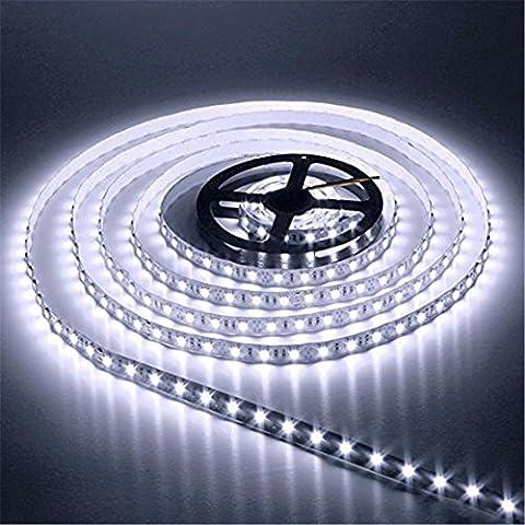 AUDEW 5m Tira flexible 600-3528 SMD LED no resistente al agua iluminación decorativa para la TV/ Partido/ Acuario/ Construcción/ Pared/ Balcón/ Escala/ Auto/ Moto 12V Blanco