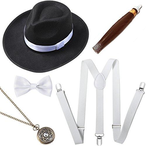 ArtiDeco 1920s Herren Accessoires Mafia Gatsby Kostüm Set inklusive Panama Gangster Hut Verstellbar Elastisch Hosenträger Herren Halsschleife Fliege Taschenuhr und Plastik Zigarre (Set-1) (Jahren Flapper-hut 1920er)