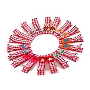1 Paar hochwertige Haarspangen pink kariert – mit Stoff bezogen – KEIN ZIEPEN – Viele Variationen – Made in Gemany