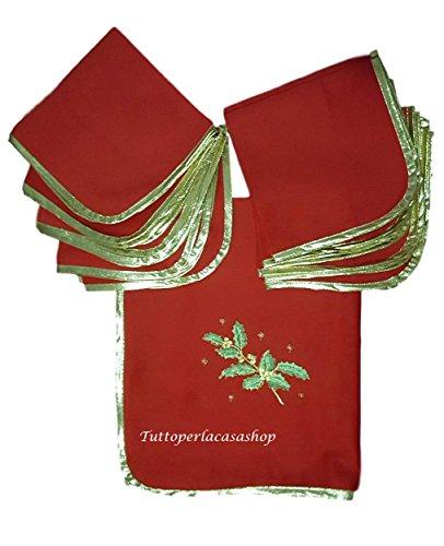 Mantel de Navidad Servicio para 12personas con servilletas confestyl cm 150x 250de caja