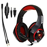 Casque Gaming écouteurs bandeau avec micro LED pour Playstation 4 PS4/PC Gaming Gamer/ordinateur portable/Mac/iPhone Casque, Répartiteur Black-red