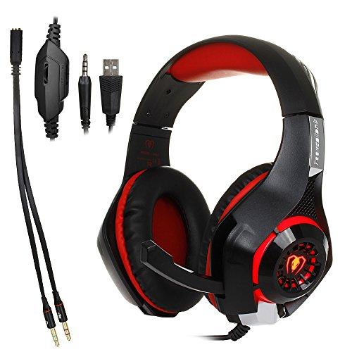 Gaming Kopfhörer Headset Kopfhörer Stirnband mit Mikrofon LED-Licht für PS4Playstation 4/PC Gaming Gamer/Laptop/Mac iPhone, Headset Splitter Schwarz-rot (Xiaomi Over-ear-kopfhörer)