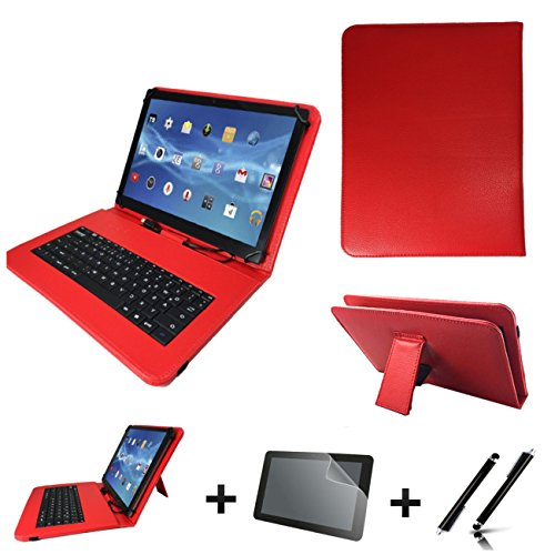 3in1 Starter set für Archos Diamond Tab (2017) Deutsche Tastatur Hülle | Schutz Folie| Touch Pen | 10.1 Zoll Rot Keyboard 3in1