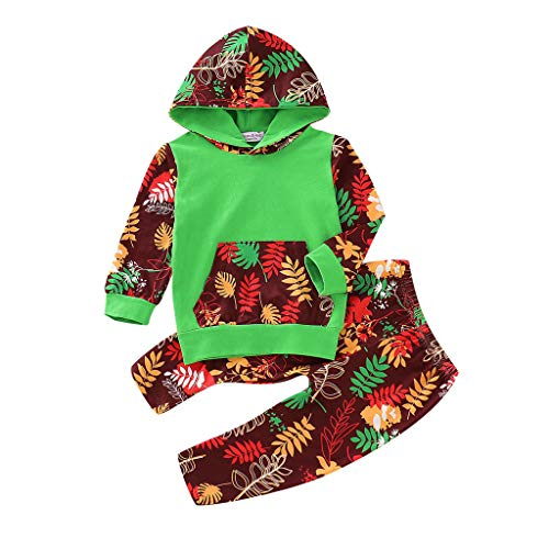 Robemon❤️Toddler Enfant Bébé Unisex Garçons Filles Leaves Print Hooded Tops Pantalons Outfits Ensembles de Fille