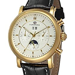 Forsining Men's Business Automatic Calendar Moon Phase Dail Brand Leather Strap Wrist Watch FSG553M3G1
